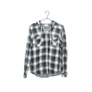 Columbia Times Two Hooded Shirt Flannel Plaid Gray
